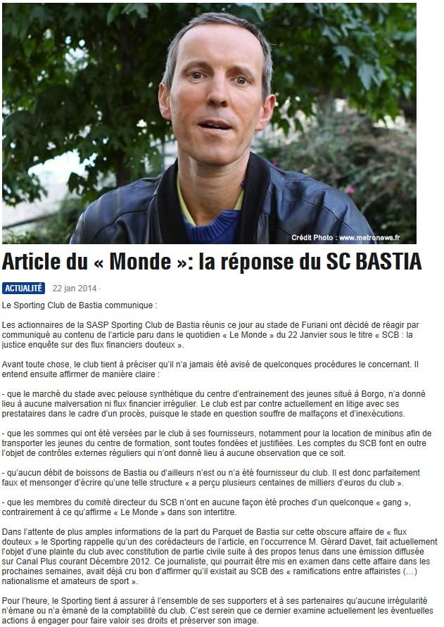 Justice : Le SC-Bastia visé par 2 enquêtes S186