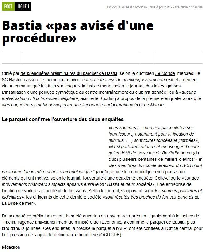 Justice : Le SC-Bastia visé par 2 enquêtes S187