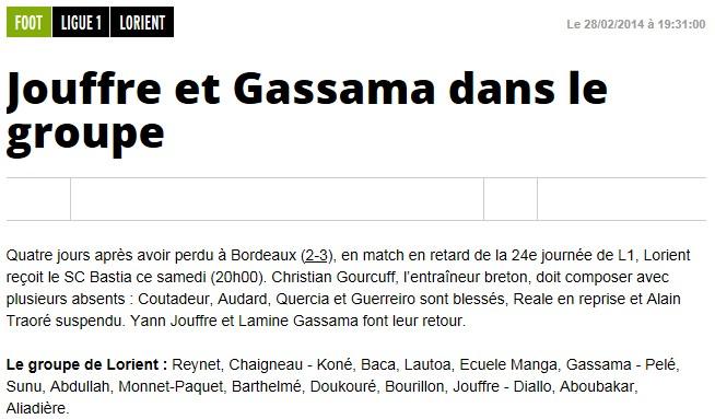 J27 / Jeu des pronos - Prono Lorient-Bastia S235