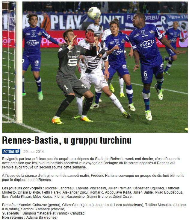 J31 / Jeu des pronos - Prono Rennes-Bastia S275