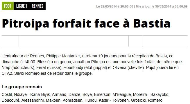 J31 / Jeu des pronos - Prono Rennes-Bastia S276