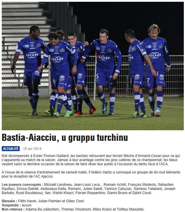 J34 / Jeu des pronos - Prono Bastia-Ajaccio S291