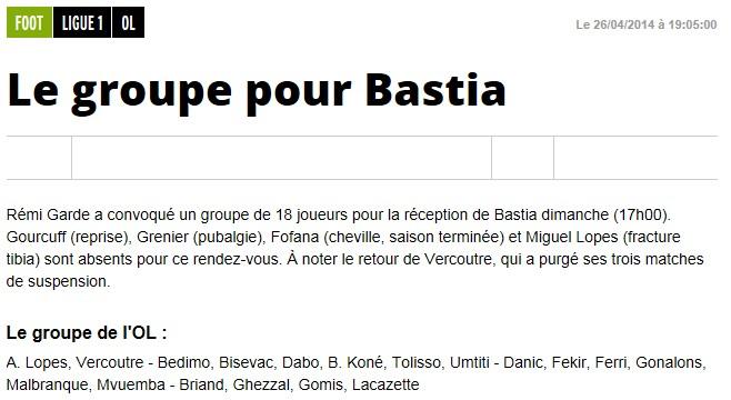 J35 / Jeu des pronos - Prono Lyon-Bastia S297