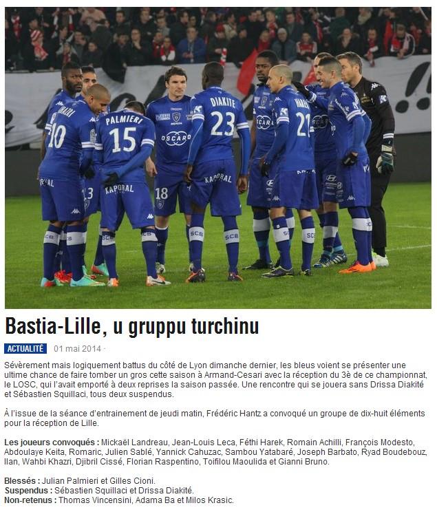 J36 / Jeu des pronos - Prono Bastia-Lille S306