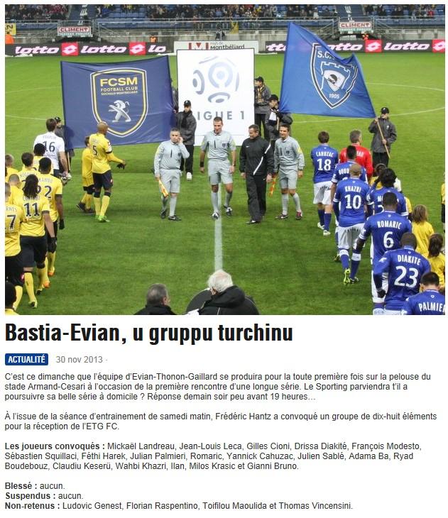 J15 / Jeu des pronos - Prono Bastia-Evian S95