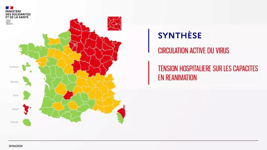 Carte des départements (verts/oranges/rouges) 15311810