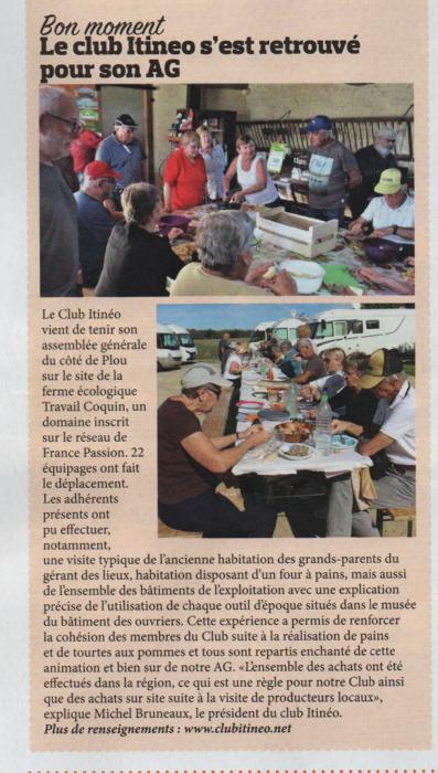 """L'AG 2019 de """"Itineo, le club"""" dans la presse Articl10"""