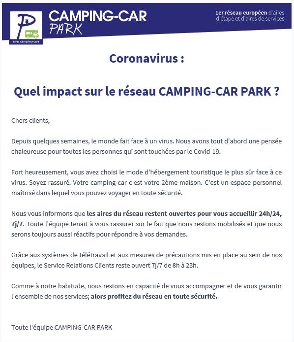 Camping-car Park et le corona Corona10