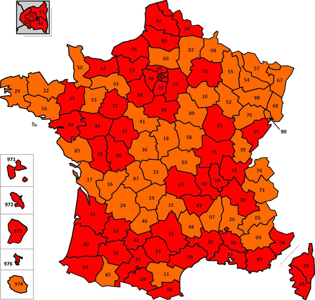 France: carte des départements suivant leur couleur (SPF Affaires Etrangères belge) France22