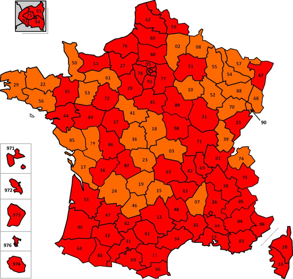 France: carte des départements suivant leur couleur (SPF Affaires Etrangères belge) France28