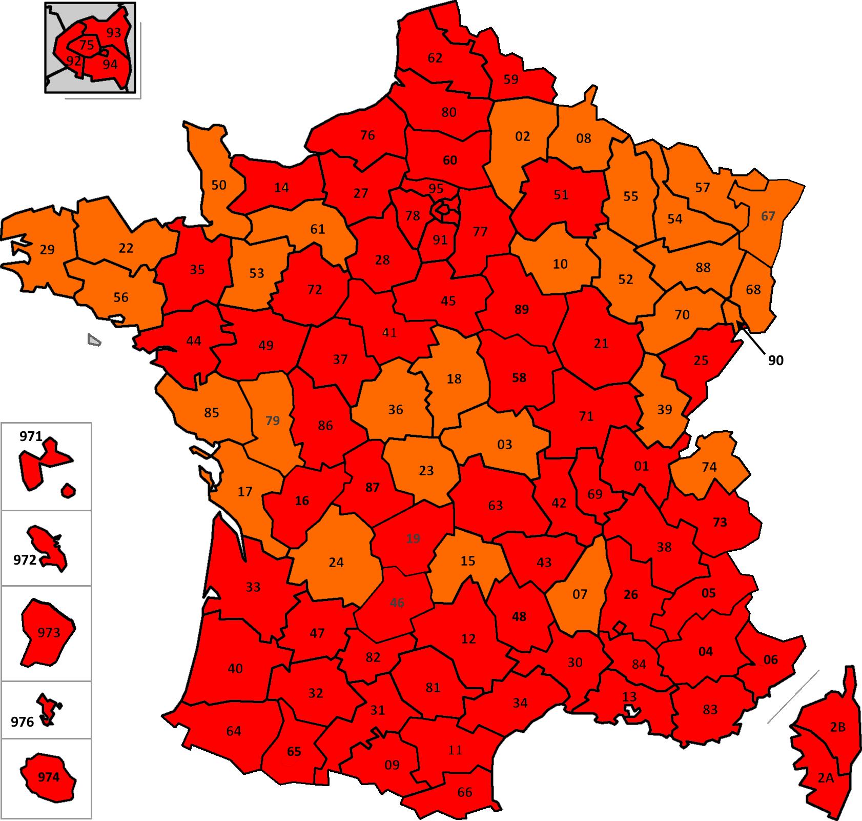 France: carte des départements suivant leur couleur (SPF Affaires Etrangères belge) France31