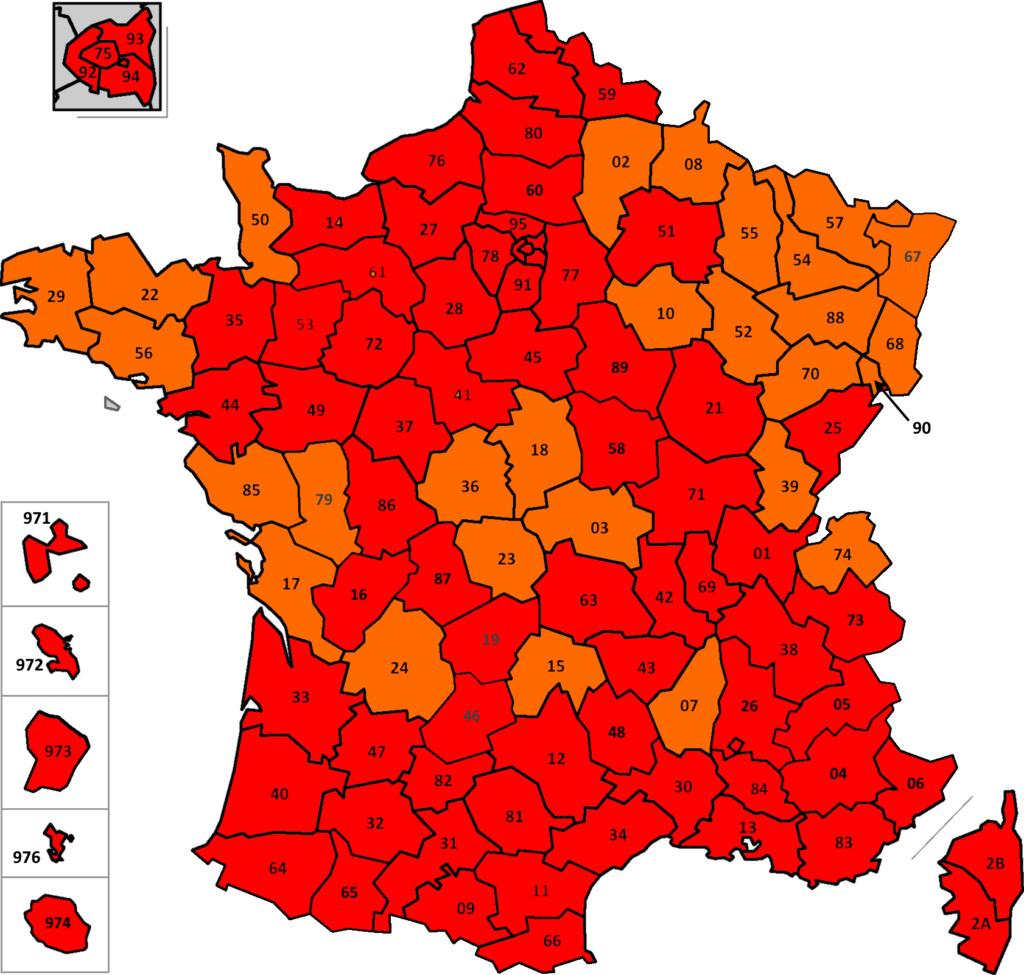 France: carte des départements suivant leur couleur (SPF Affaires Etrangères belge) France33