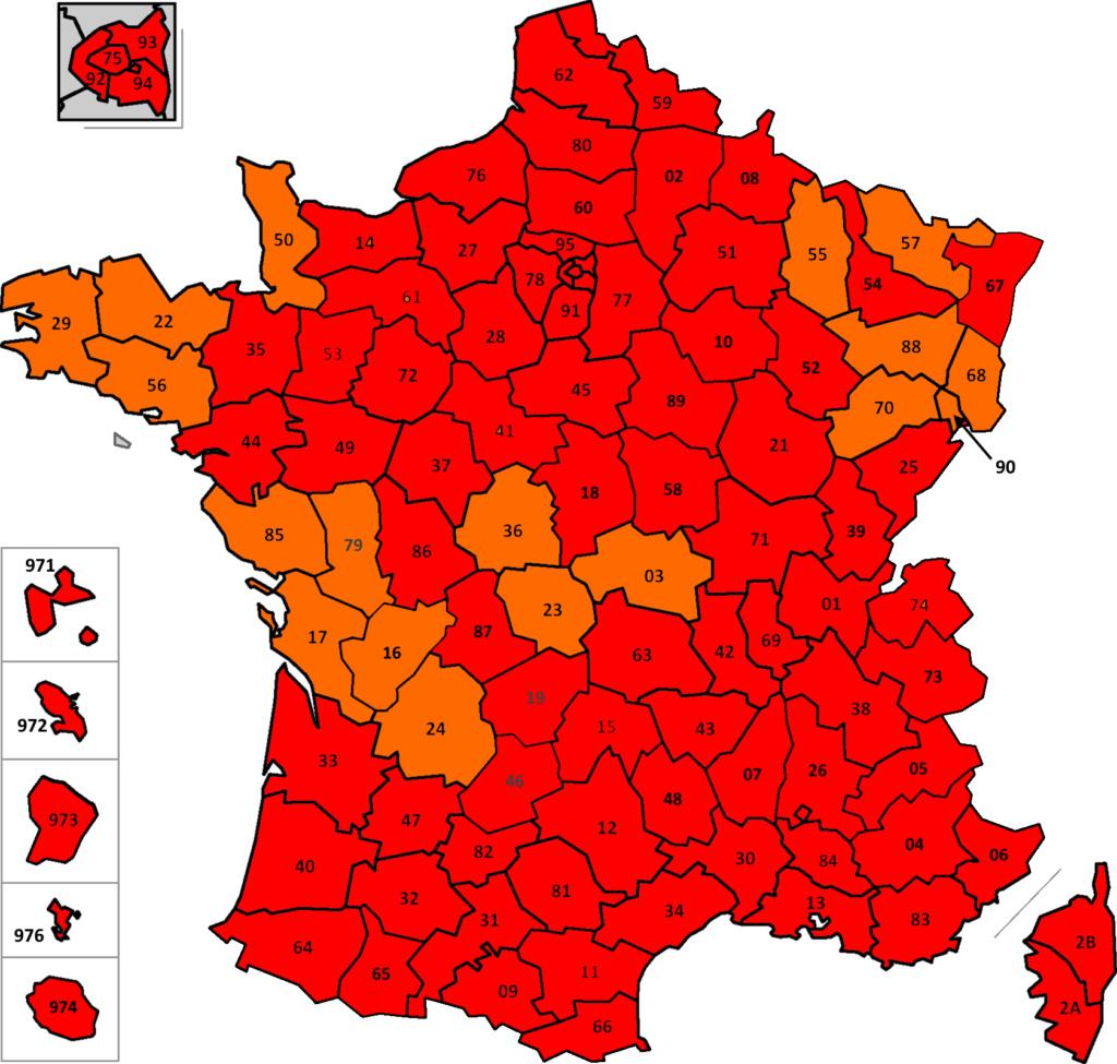 France: carte des départements suivant leur couleur (SPF Affaires Etrangères belge) France34