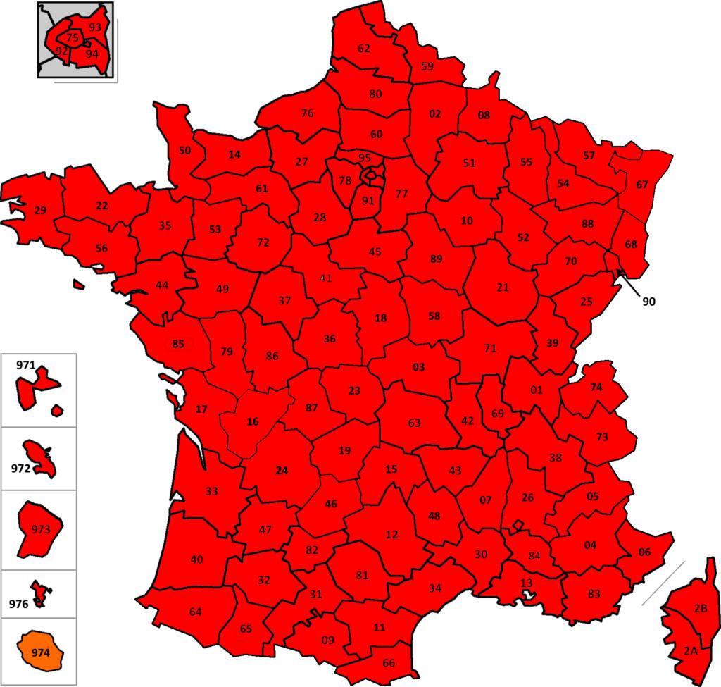 France: carte des départements suivant leur couleur (SPF Affaires Etrangères belge) France37