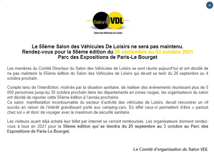 Annulation de l'édition 2020 du salon VDL du Bourget Svdl0110