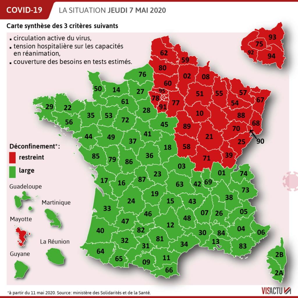Carte des départements (verts/oranges/rouges) Visact11