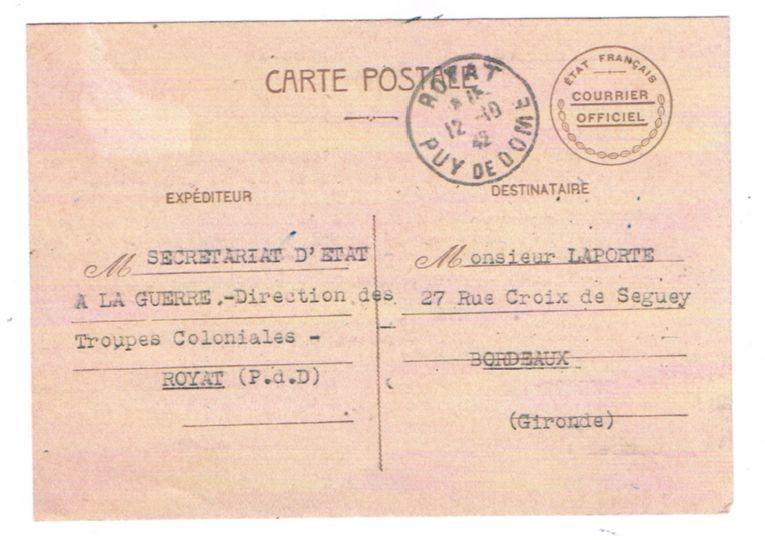 1942 nouvelles d'un prisonnier de la bataille de Madagascar 19421010