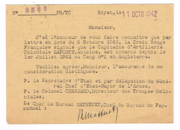 1942 nouvelles d'un prisonnier de la bataille de Madagascar 19421012