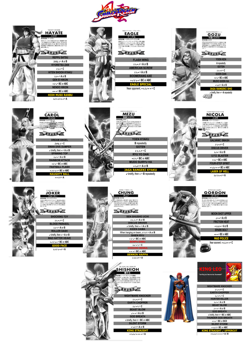 Centralisation des Moves Listes des Vs Fighting Neo Geo Savage11