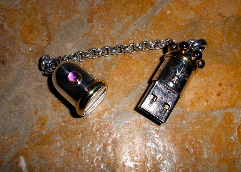 Clef USB argent filet laiton Clef511