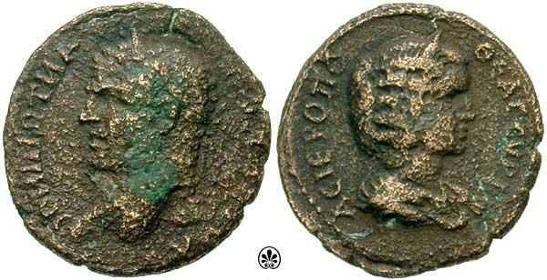 Caracalla et Julia Domna pour Hieropolis et potin alexandrin _hiero10
