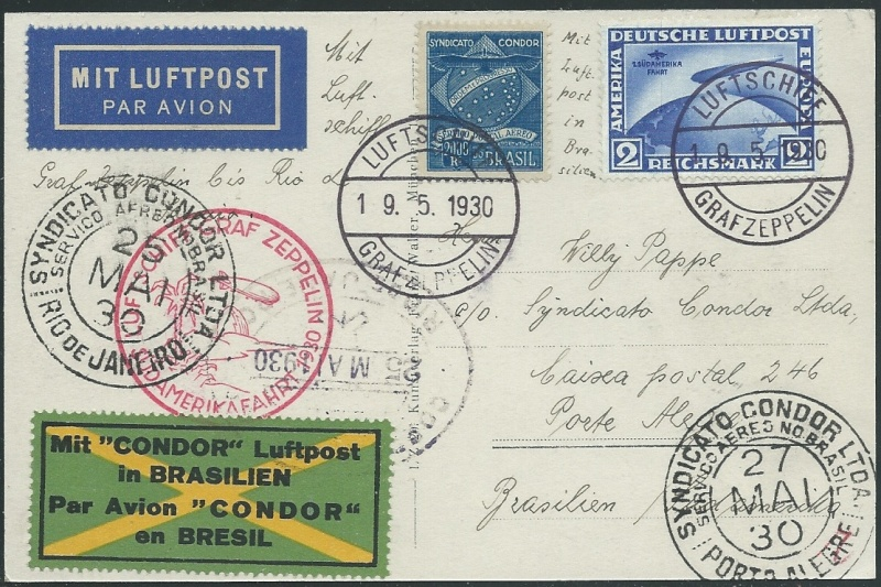 Condor-Flugpostmarken auf Belegen der Südamerikafahrt 1930 - Seite 2 57_ee_10