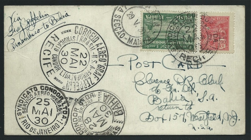 Südamerikafahrt 1930, Post nach (Salvador de) Bahia 59_a_r10