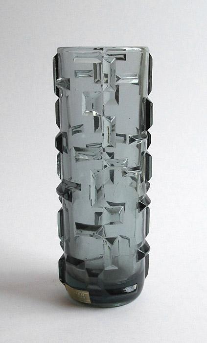 Pressed Glass vase prismatic moulded decoration ??? Walthe10