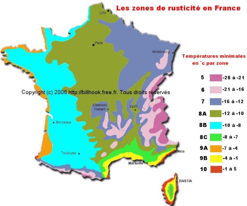 Les Zones de rusticité en France Zone-r10