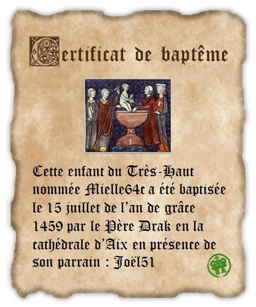 Cérémonie d'anoblissement de Mielle - Page 2 Baptem10
