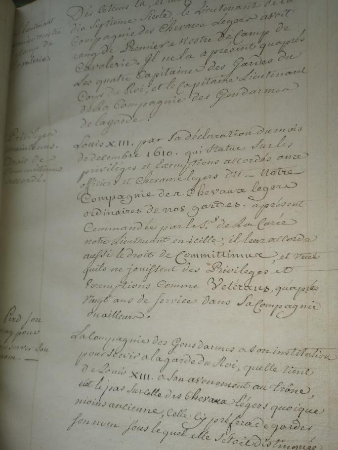 """manuscrits des """"cheveau legers de la garde du roy""""  Img_2203"""