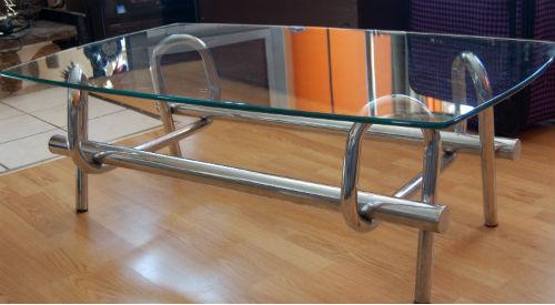 VENDU - table basse de salon et étagère chromé ¤ 1_00310