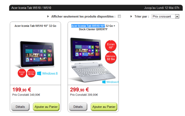 """Bon Plan, Acer Iconia Tab W510 10"""" 32 Go  Acer10"""
