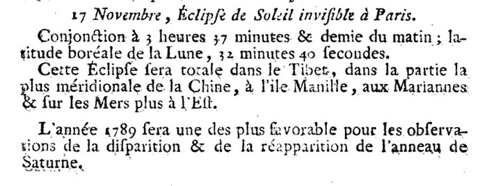 17 novembre 1789: Eclipse 1233