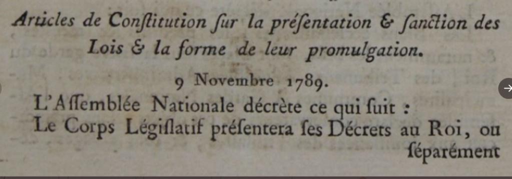 09 novembre 1789: Décret sur la présentation et la sanction des lois et sur la forme de leur promulgation 1331