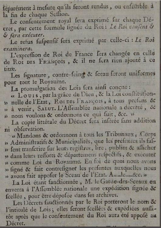09 novembre 1789: Décret sur la présentation et la sanction des lois et sur la forme de leur promulgation 2152