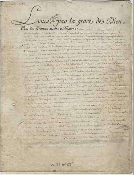 07 novembre 1787: L'édit de Versailles est signé par Louis XVI 24697310
