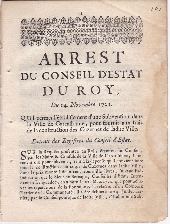 14 novembre 1721: Arrest du Conseil du Roy (Carcassonne) Ob_b9210
