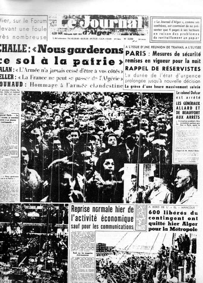 """ALGERIE PRESSE  1961 """"spécial PUTSCH""""  2ème partie 127"""