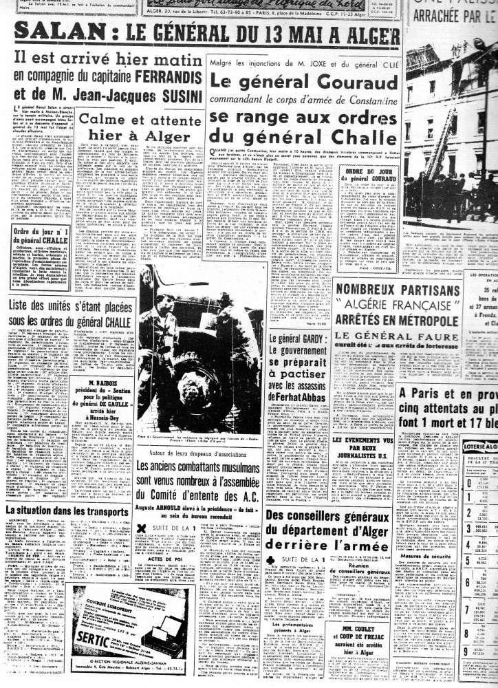 """ALGERIE PRESSE  1961 """"spécial PUTSCH""""  2ème partie 221"""
