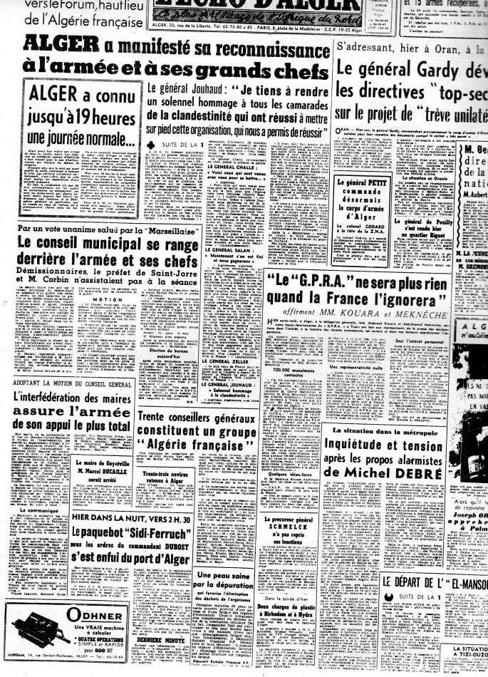 """ALGERIE PRESSE  1961 """"spécial PUTSCH""""  2ème partie 223"""