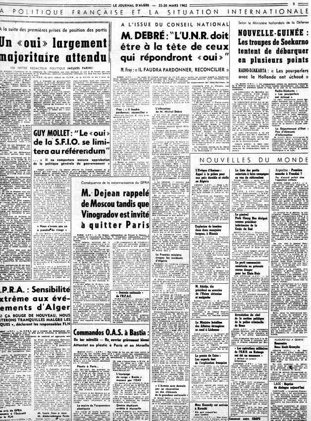 ALGERIE PRESSE MARS 1962, suite 1 272