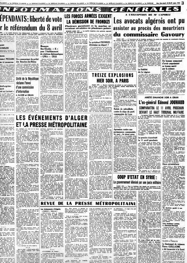 ALGERIE PRESSE MARS 1962, suite 1 273