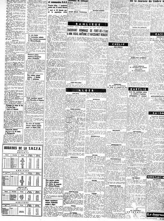 ALGERIE PRESSE MARS 1962, suite 1 347