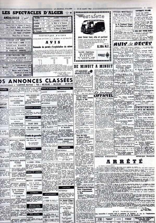 ALGERIE PRESSE MARS 1962, suite 1 454