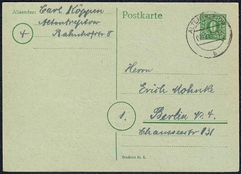 Deutsches Reich - Belege aus Dezember 1945  1945-110