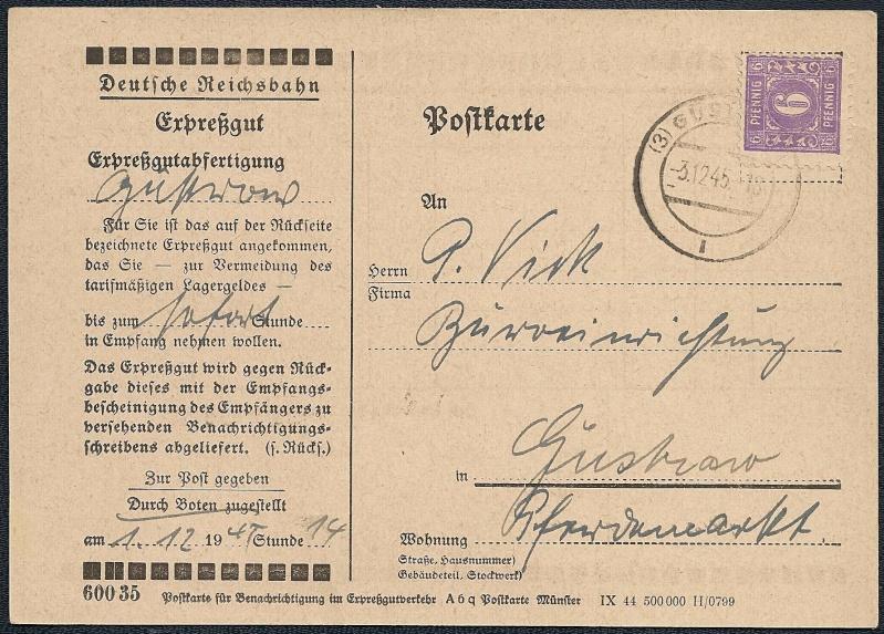Deutsches Reich - Belege aus Dezember 1945  1945-114