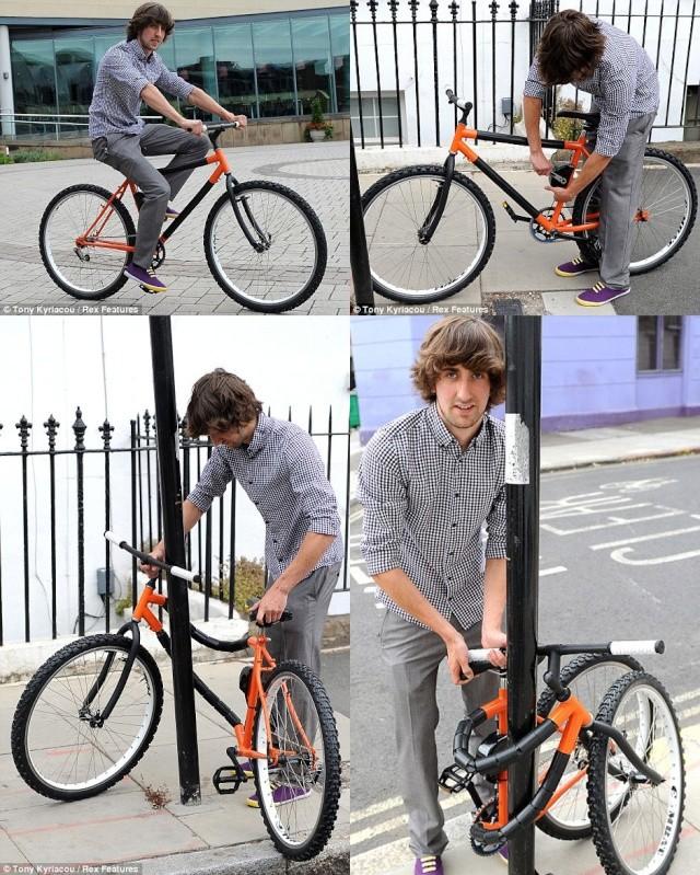 Un vélo pliant qui s'enroule aux poteaux Bendab10