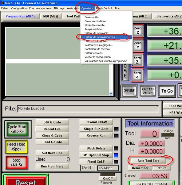Sonde sous MACH3 – « Auto Tool Zero Setter » - « XYZ Probe » Macro110