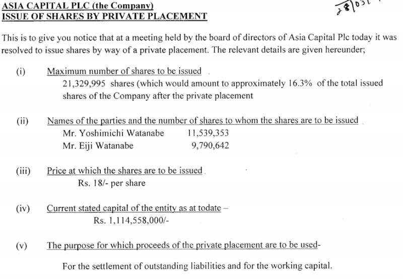 Asia Capital - Issue of Share by Private placement Asia10